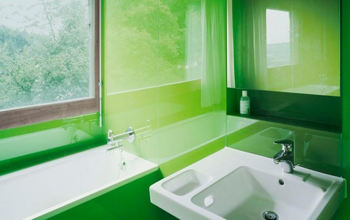 lacobel lazienka zielen krakow - Kolorowe szkło (Lacobel) w łazience
