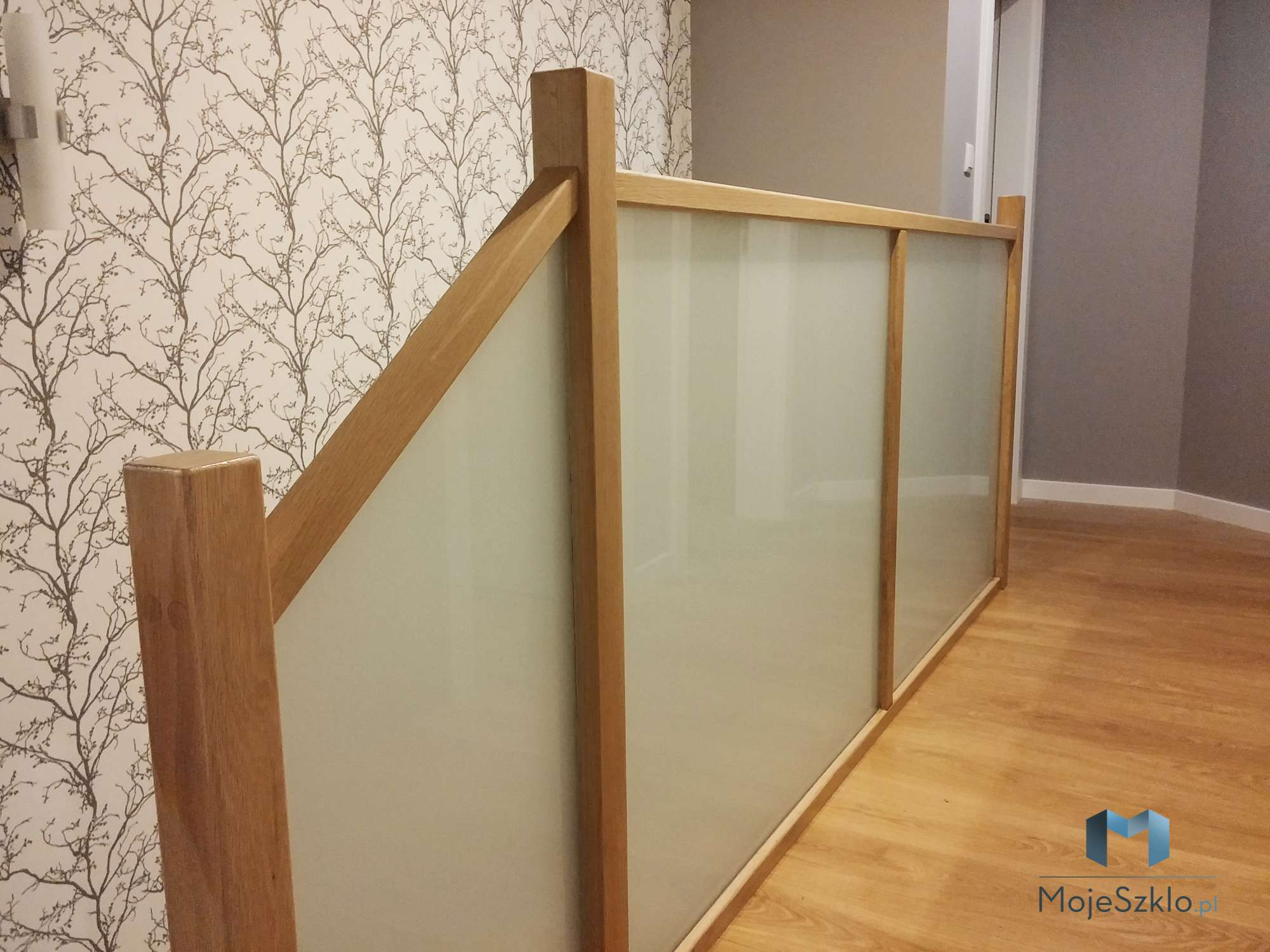 Balustrada Szklana W Drewnianej Ramie - Balustrady szklane, balustrady ze szkła