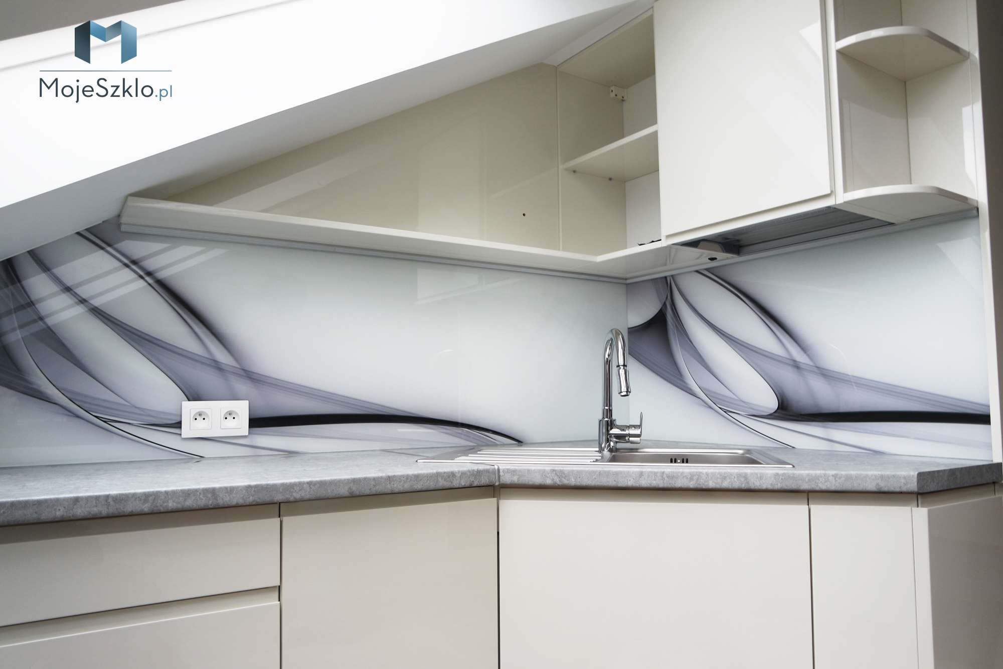 Grafika Szklo Abstrakcja Biel - Panele szklane do łazienki na wymiar