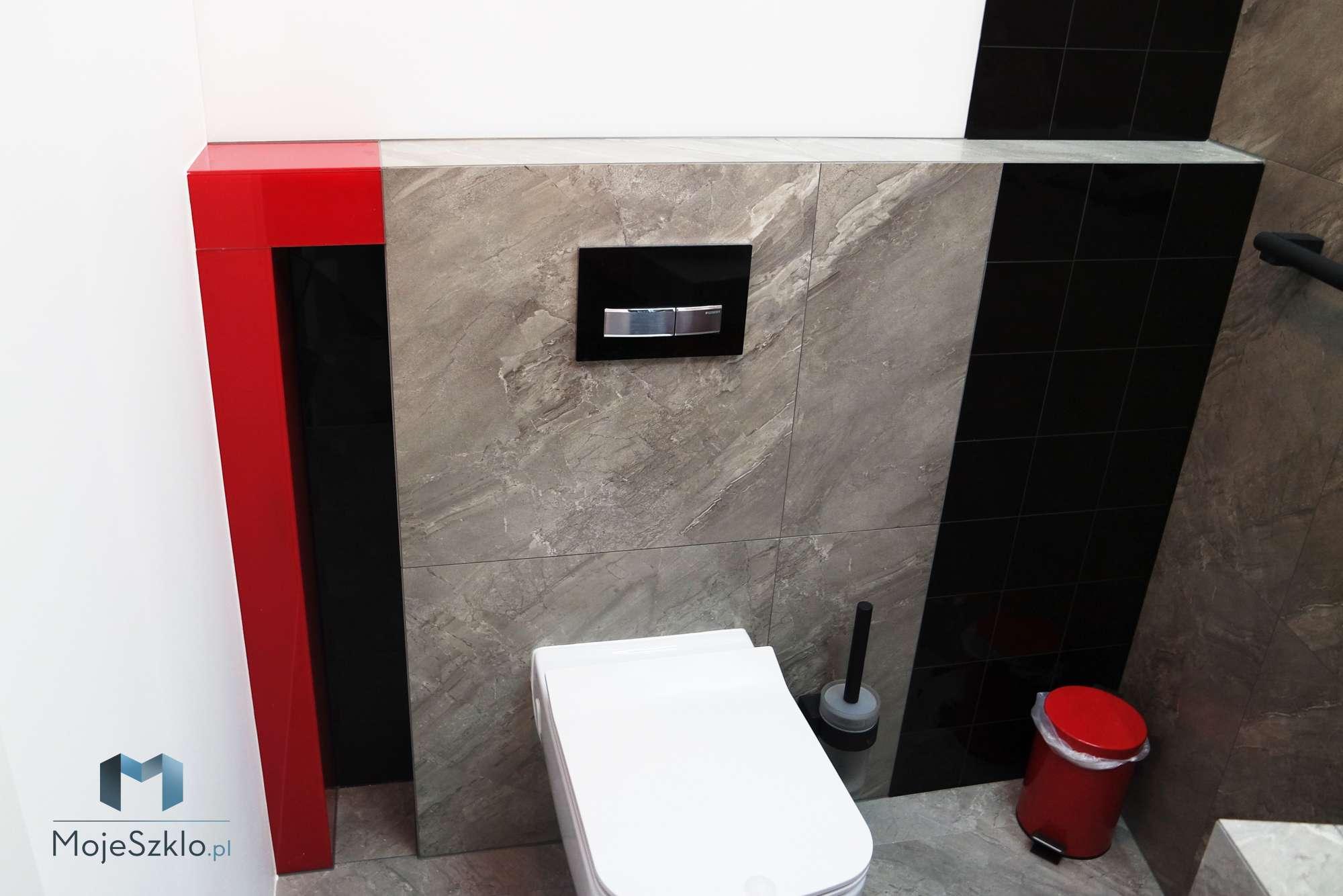 Lacobel Do Lazienki Lsniacy Czerwony - Kolorowe szkło (Lacobel) w łazience