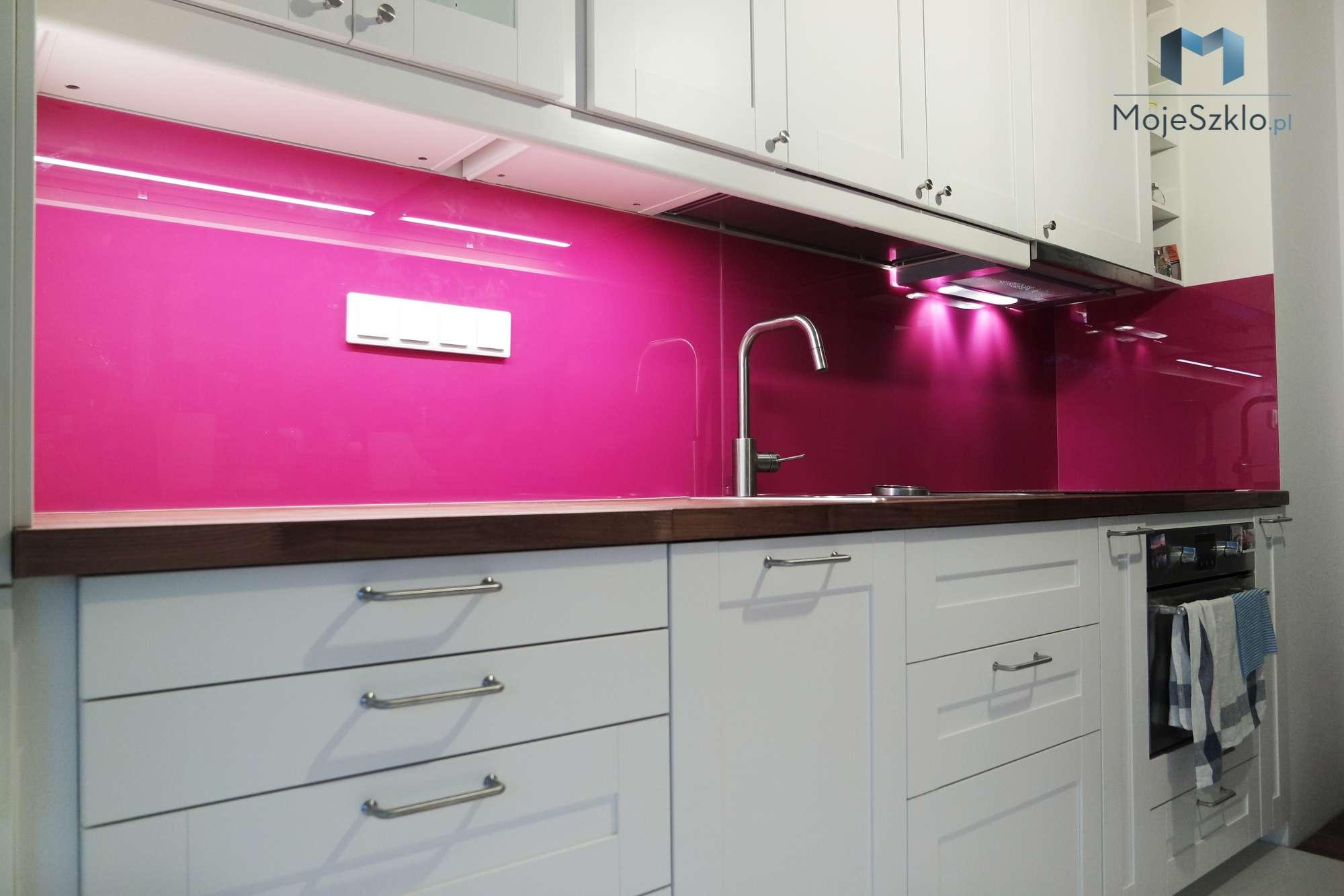 Lacobel Na Wymiar Krakow Fuksja - Lustro w kuchni. Panele lustrzane do kuchni