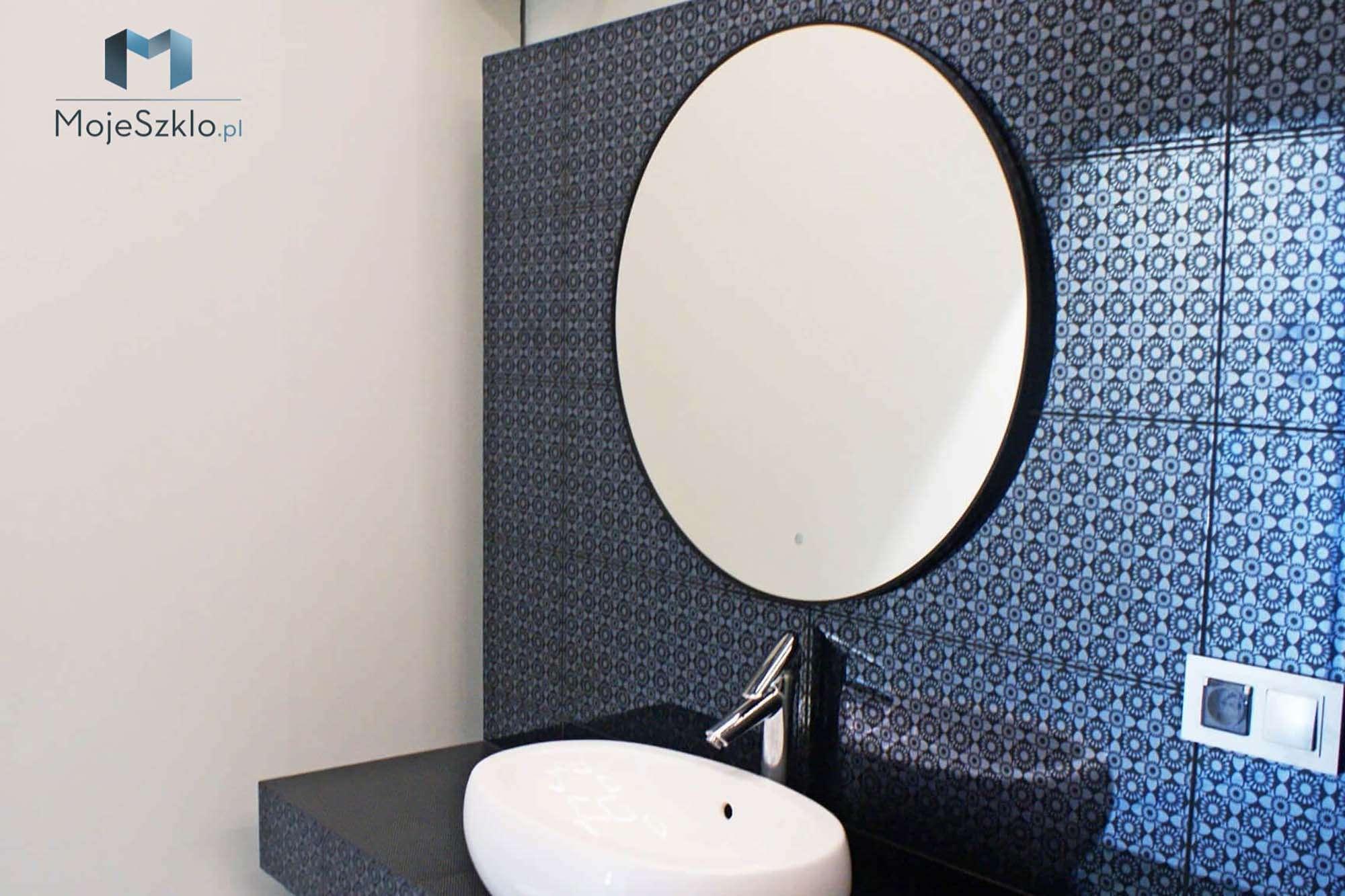 Lustro W Czarnej Ramie Okragle - Lustra łazienkowe. Lustro do łazienki na wymiar