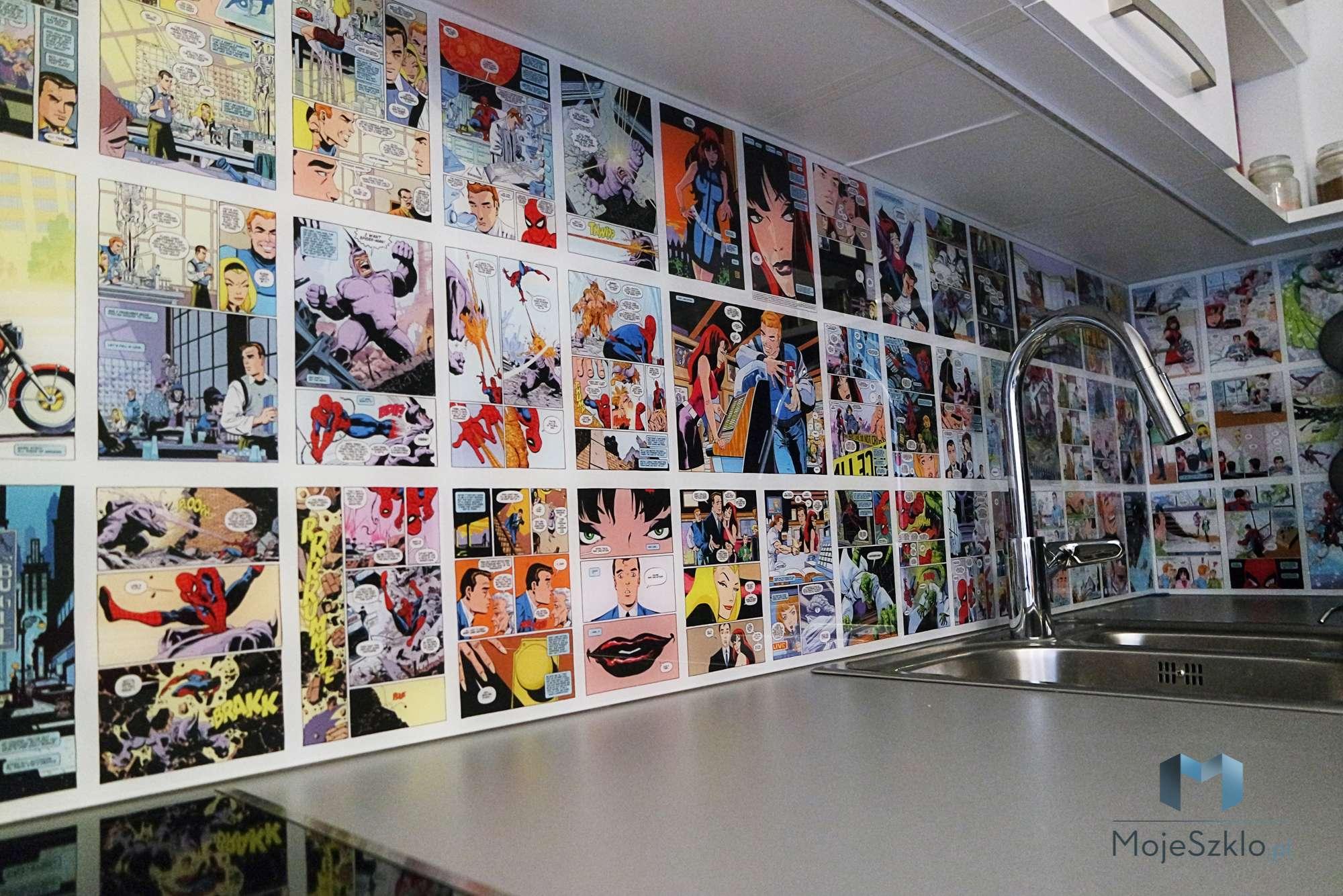 Panel Szklany Do Kuchni Komiksy - Szkło na ścianę z nadrukiem napoje