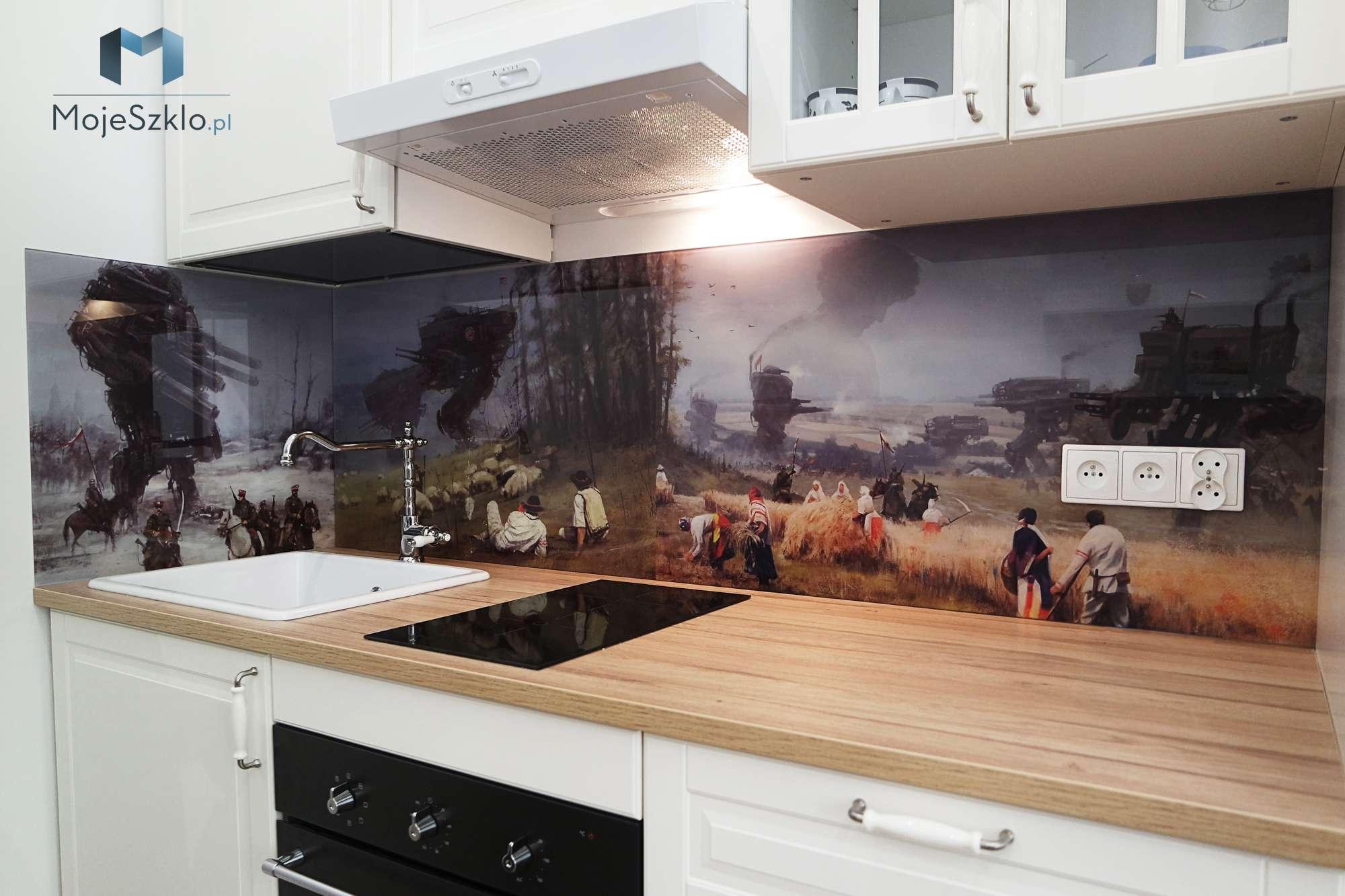 Panel Szklany Do Kuchni Rozalski - Panel szklany do kuchni z grafiką i rysunkiem