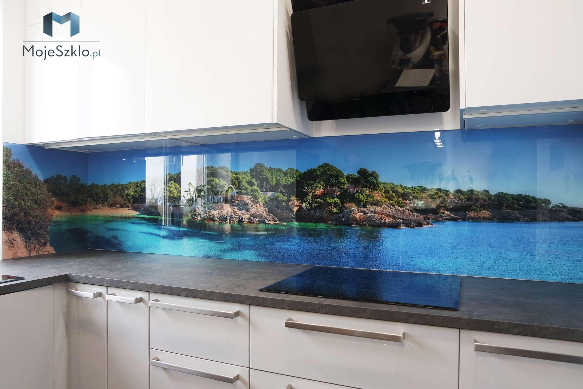 Panel Szklany Kuchnia Wybrzeze - Szyba do kuchni z motywem kwiatów