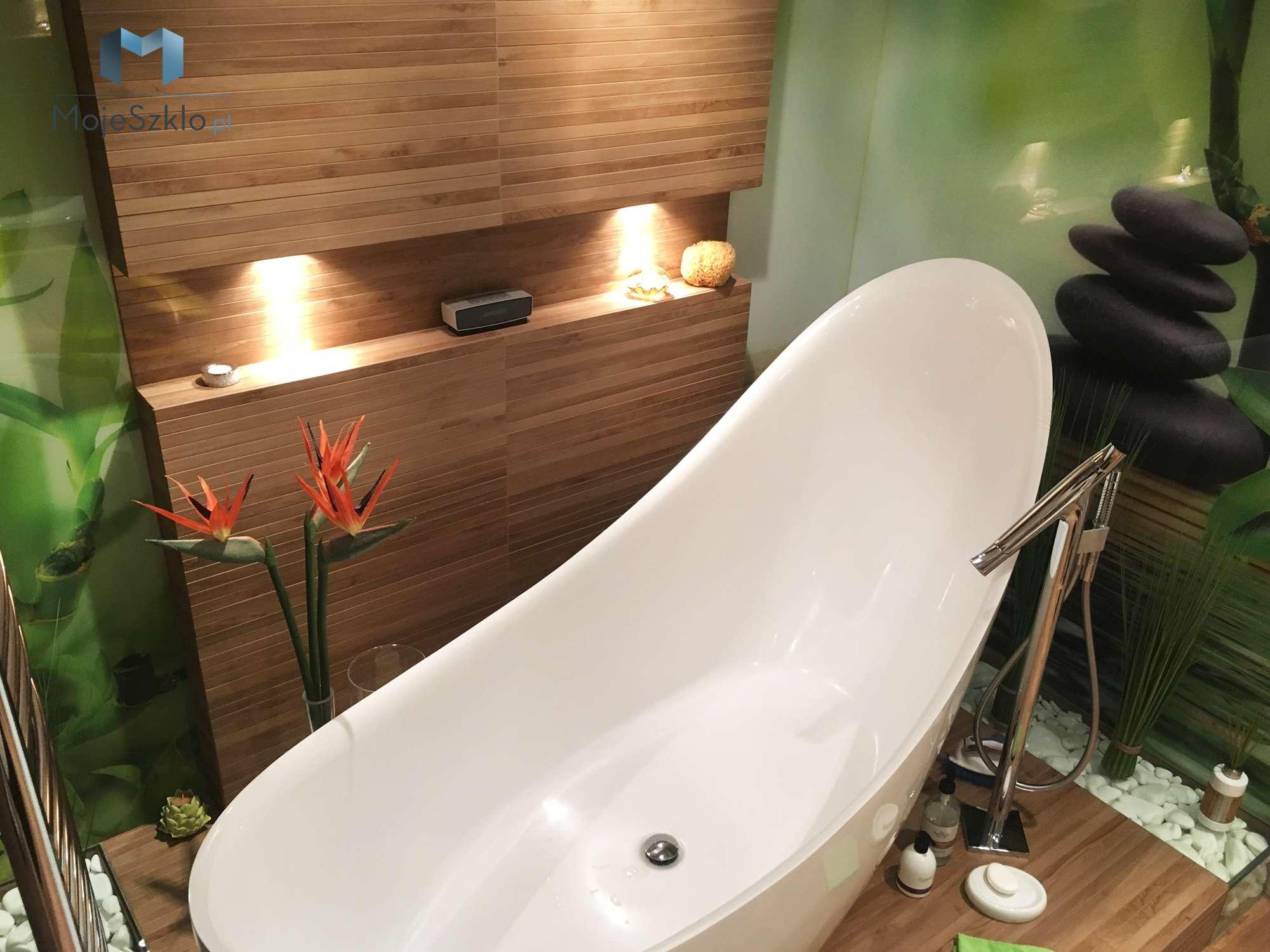 Panel Szklany Lazienka Bambusy - Panele szklane do łazienki na wymiar