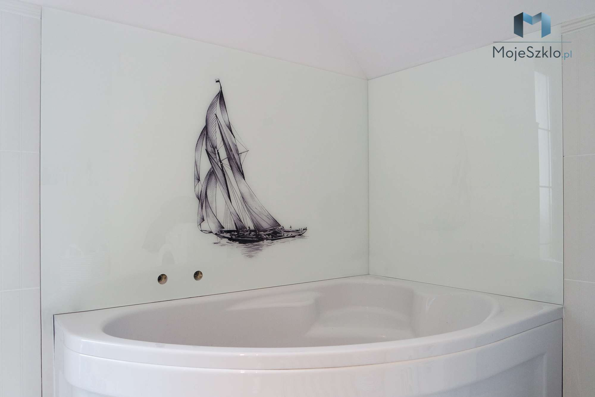 Panel Szklany Zaglowka - Złota kabina prysznicowa. Kabina w złotych okuciach
