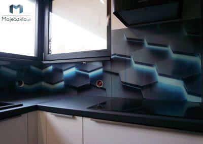 Panele Szklane Szesciokaty 3D