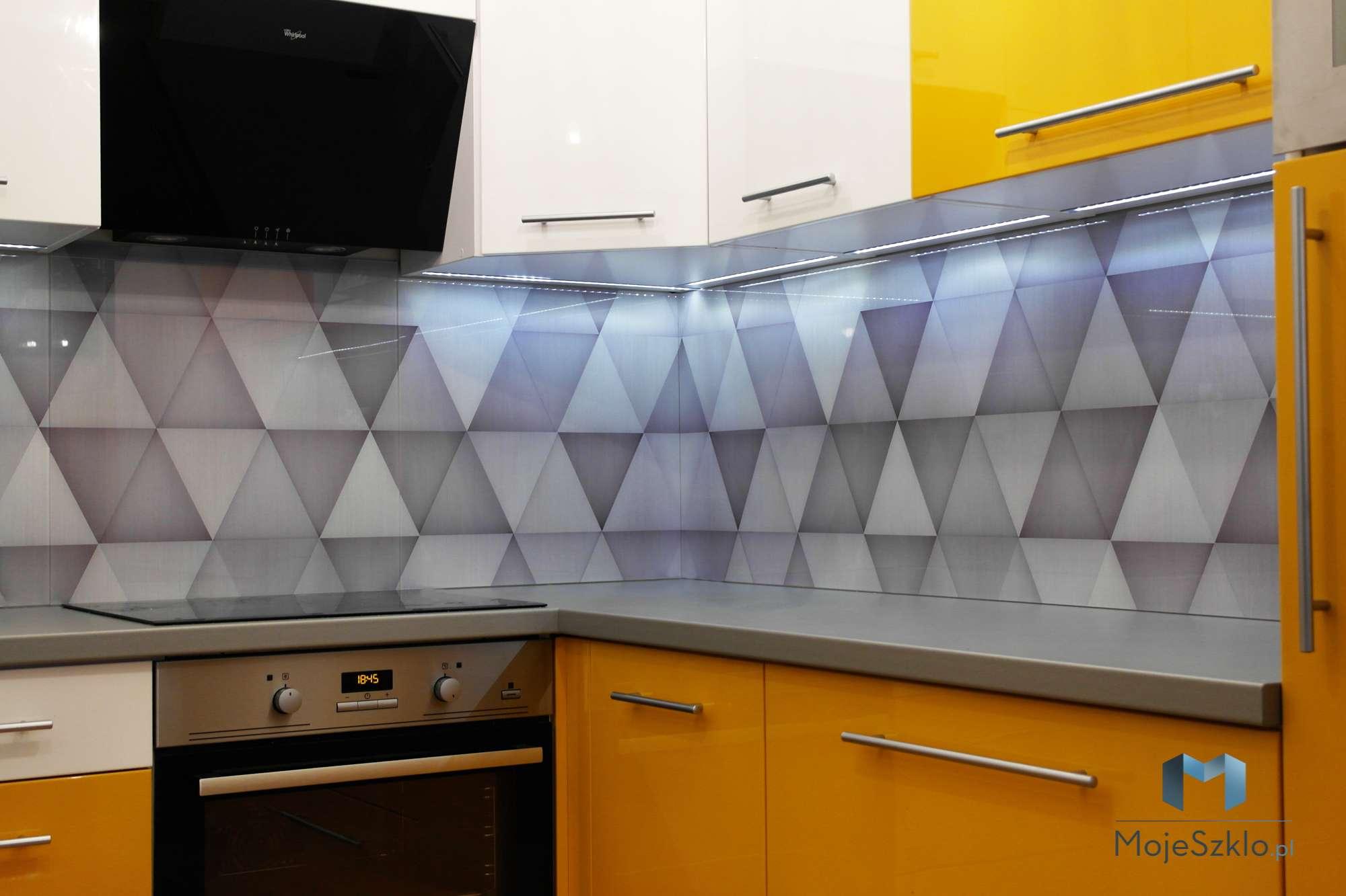 Panele Szklane Wzor Trojkaty Kuchnia - Panel szklany do kuchni z grafiką i rysunkiem