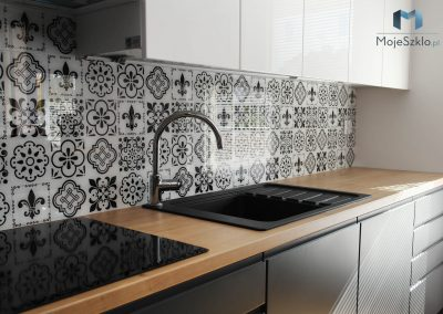 Szklane Panele Czarno Biala Mozaika