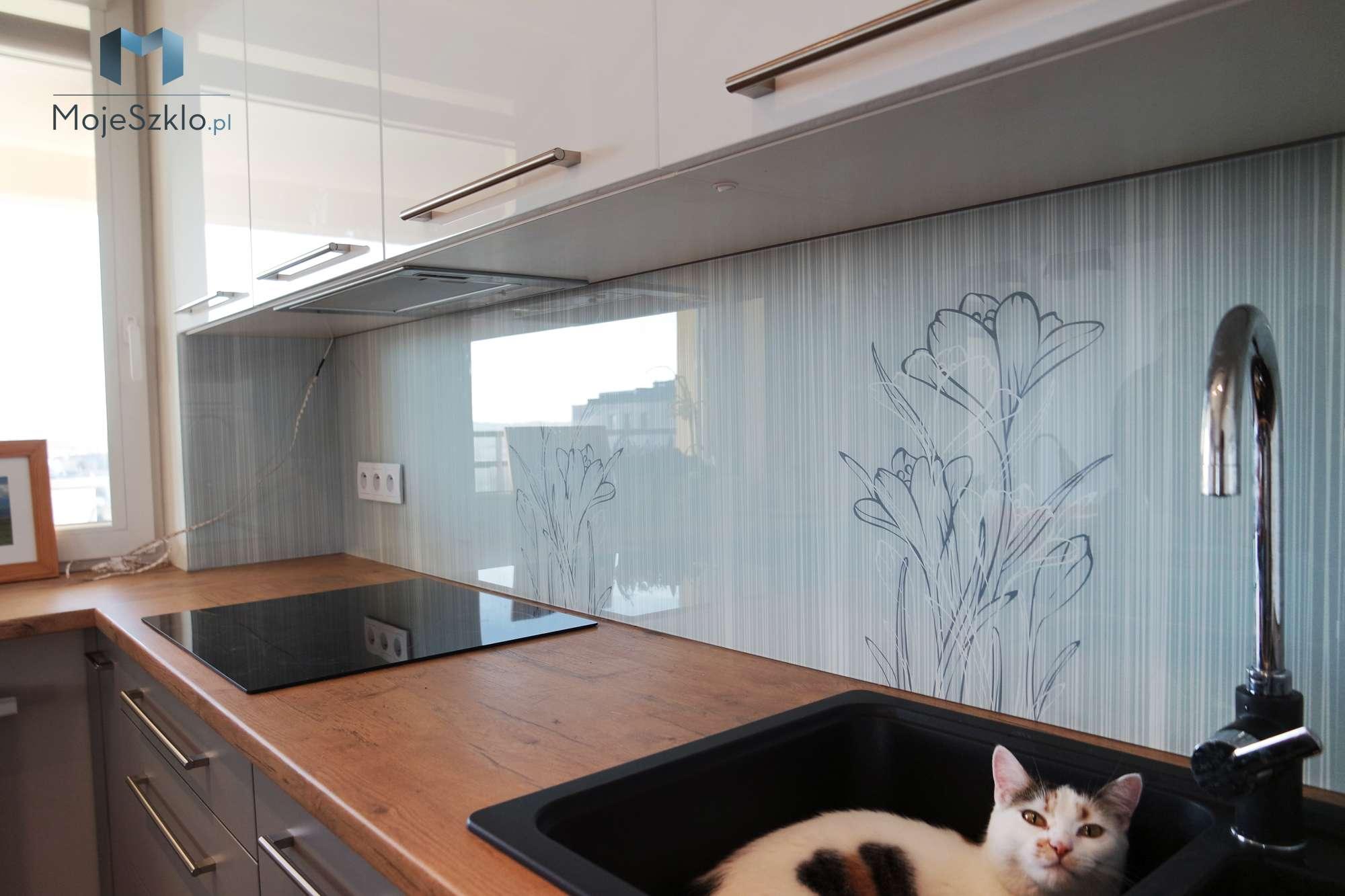 Szklany Panel Kuchenny Krokusy - Szyba do kuchni z motywem kwiatów