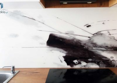 Szklo Abstrakcja Czarny Bialy