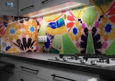 Szklo Grafika Abstrakcyjna Mozaika Kuchnia