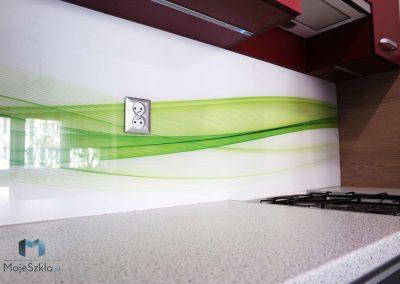 Szklo Grafika Abstrakcyjne Zielone Fale