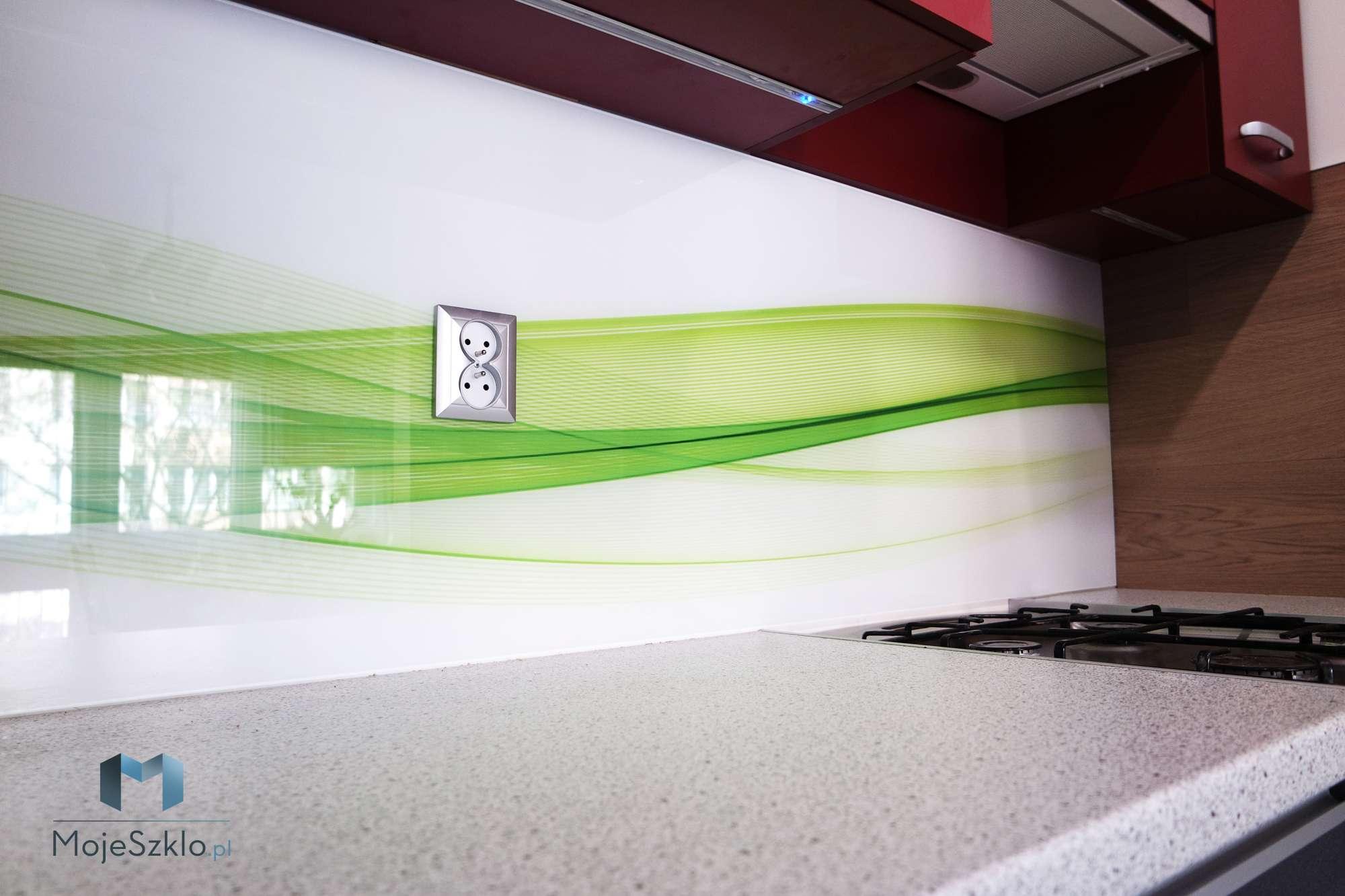 Szklo Grafika Abstrakcyjne Zielone Fale - Szkło do kuchni - Motywy warzyw i owoców