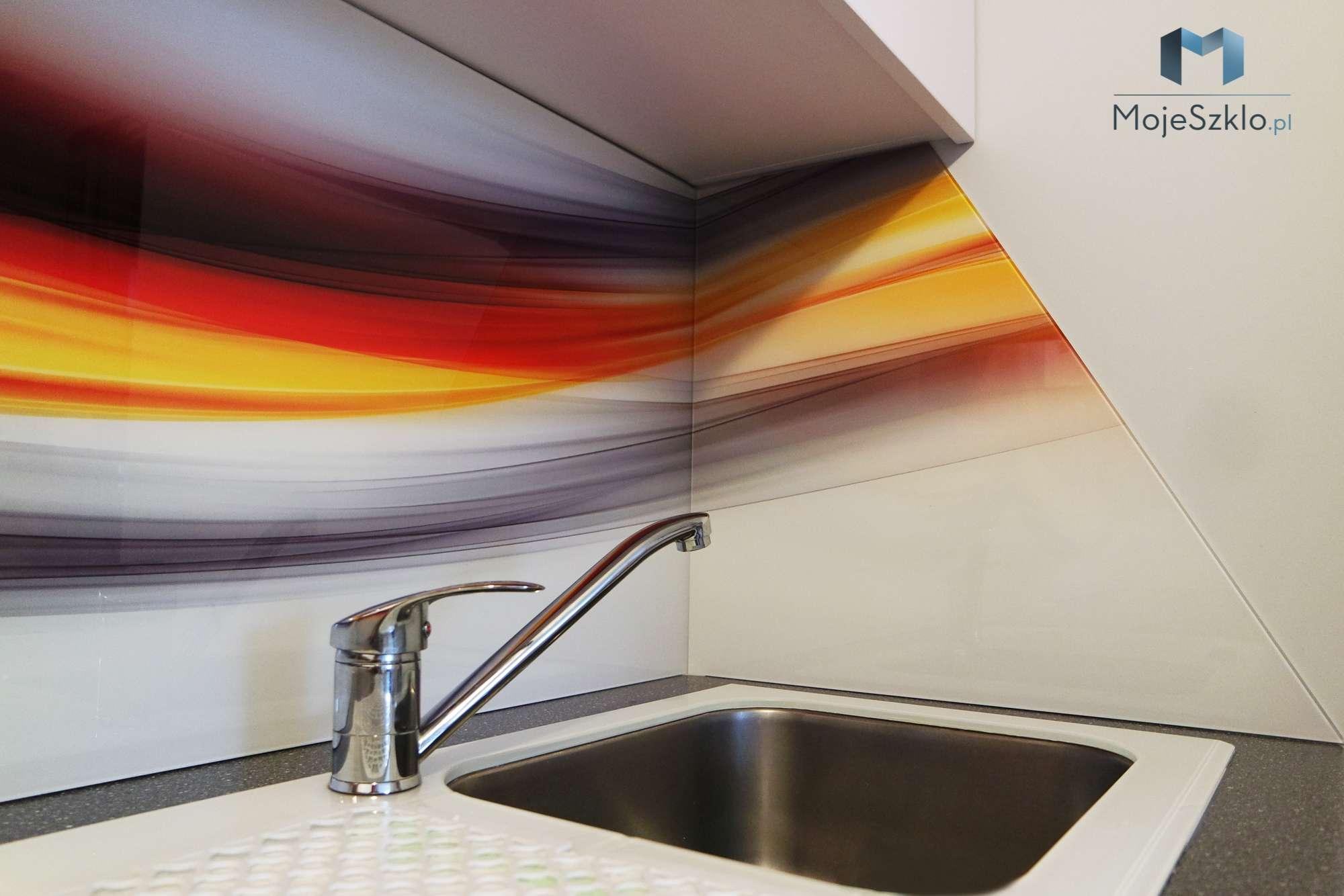 Szklo Kuchenne Abstrakcja Kolorowa - Szkło hartowane do kuchni z nadrukiem miasta