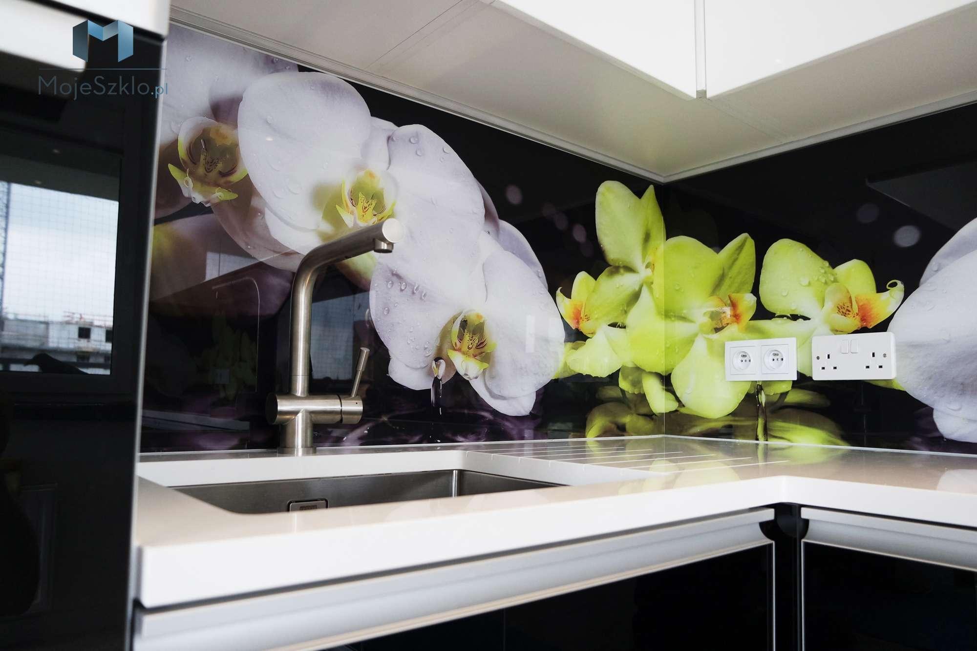 Szklo Ozdobne Orchidea 1 - Szyba do kuchni z motywem kwiatów