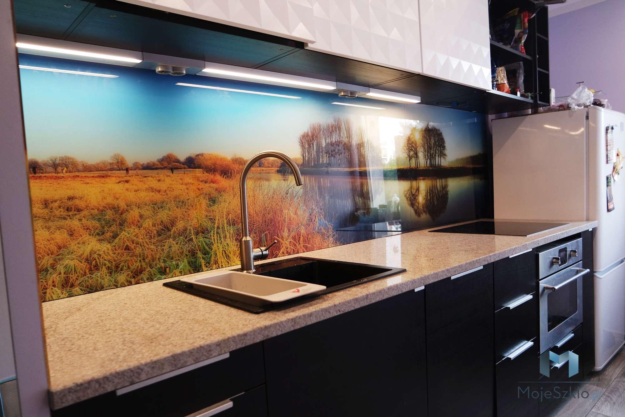 Szklo W Kuchni 1 - Szyba do kuchni z motywem kwiatów