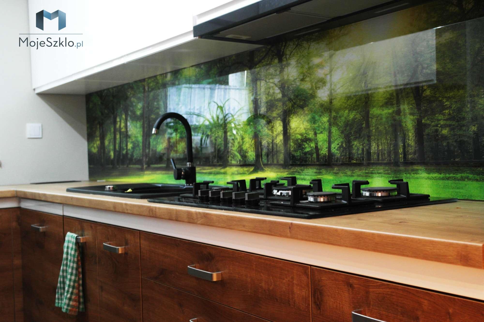 Szklo W Kuchni Las - Szkło hartowane do kuchni z nadrukiem miasta