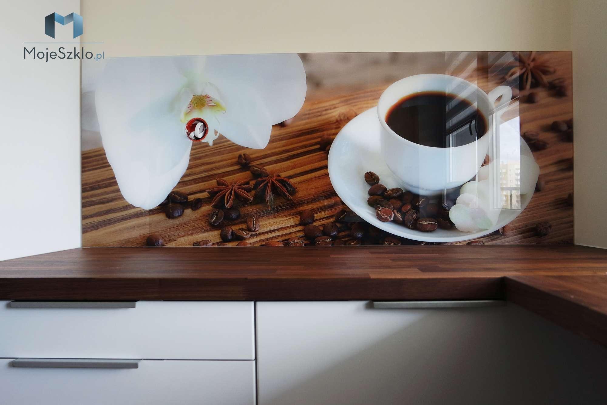 Szklo Z Grafika Filizanka Kawy - Panele szklane do kuchni - wzory i tekstury