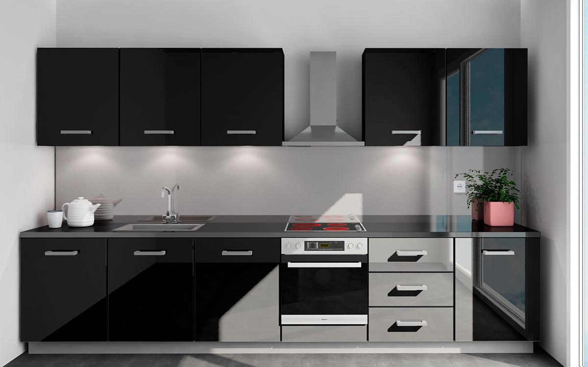 Wizualizacja kuchni z szklanym panelem